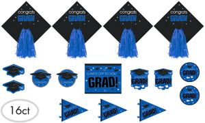 Blue Graduation Cutouts 16ct - Congrats Grad