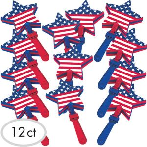 Patriotic American Flag Star Hand Clappers 12ct