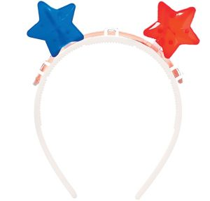 Glow Patriotic Red, White & Blue Star Headband