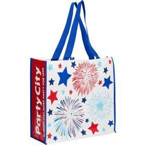 Patriotic Red, White & Blue Fireworks Tote Bag