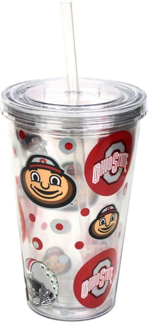 Ohio State Buckeyes Double Wall Tumbler with Straw