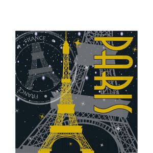 Gold Eiffel Tower Paris Lunch Napkins 16ct