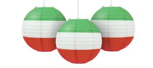 Red, White & Green Paper Lanterns 3ct