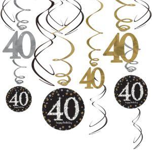 40th Birthday Swirl Decorations 12ct - Sparkling Celebration