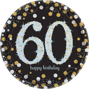 Prismatic 60th Birthday Lunch Plates 8ct - Sparkling Celebration