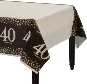 40th Birthday Table Cover - Sparkling Celebration