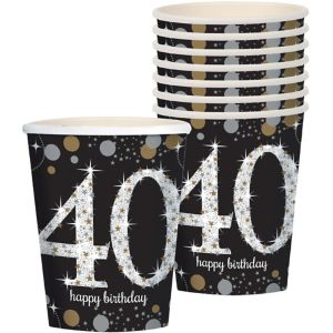 40th Birthday Cups 8ct - Sparkling Celebration