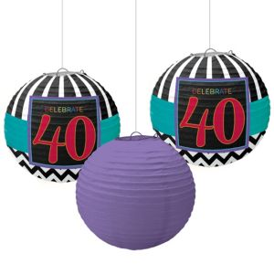Celebrate 40th Birthday Paper Lanterns 3ct