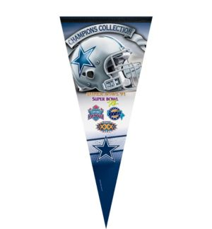 Premium Dallas Cowboys 5X Super Bowl Champs Pennant Flag