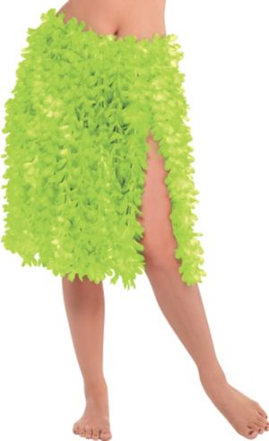 Green Flower Lei Hula Skirt