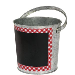 Red Gingham Chalkboard Metal Pail
