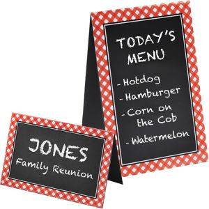 Picnic Party Red Gingham Chalkboard Tent Cards 8ct