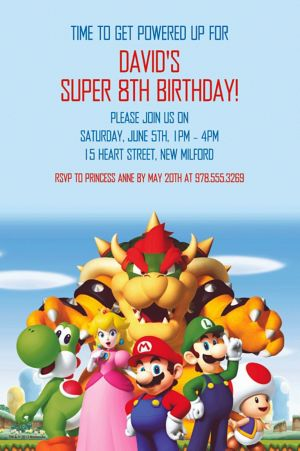 Custom Super Mario Invitation