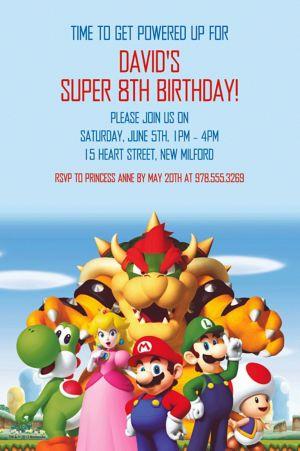 Custom Super Mario Invitation - Custom Boys Birthday ...