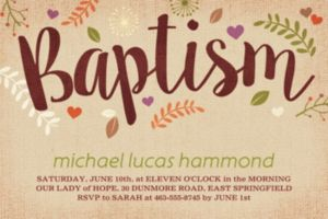 Custom Baptism Leaves Invitation
