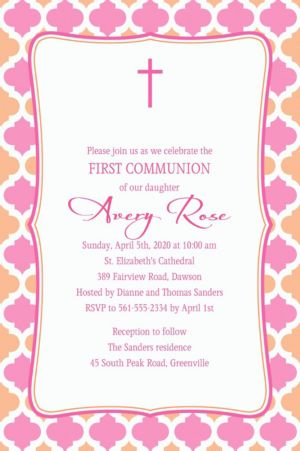 Custom Simple Cross and Diamonds Invitation