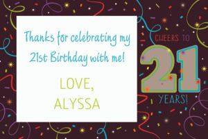 Custom Brilliant 21st Birthday Thank You Note