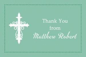 Custom Fancy Baptism Cross Teal Thank You Note