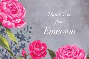 Custom Floral Brush Stroke Thank You Note