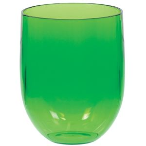 Kiwi Green Plastic Stemless Wine Glass