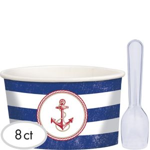 Striped Nautical Ice Cream Cups with Spoons 8ct