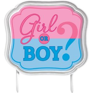 Girl or Boy Gender Reveal Cake Topper