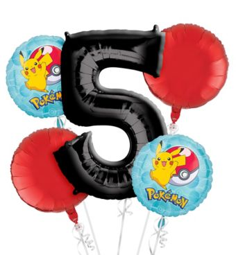 Pokemon 5th Birthday Balloon Bouquet 5pc