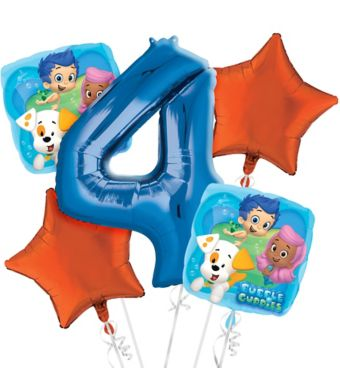 Bubble Guppies 4th Birthday Balloon Bouquet 5pc