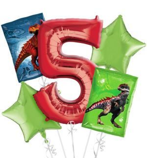 Prehistoric Dinosaurs 5th Birthday Balloon Bouquet 5pc
