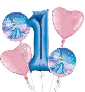 Cinderella 1st Birthday Balloon Bouquet 5pc