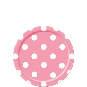 Pink Polka Dot Dessert Plates 8ct
