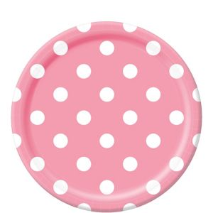 Pink Polka Dot Lunch Plates 8ct