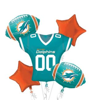 Miami Dolphins Jersey Balloon Bouquet 5pc