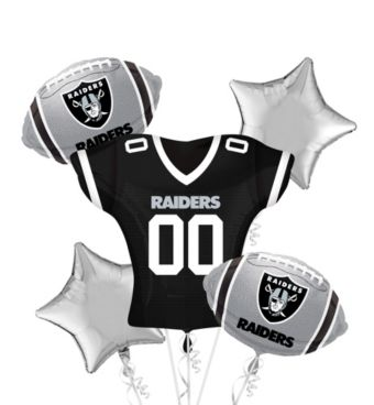 Oakland Raiders Jersey Balloon Bouquet 5pc