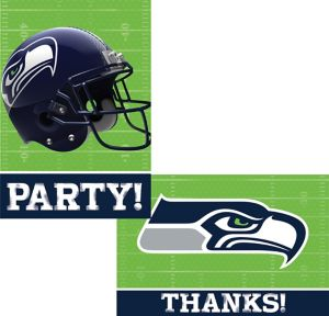 Seattle Seahawks Invitations & Thank You Notes For 8
