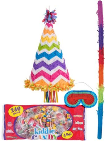Pull String Party Hat Pinata Kit - Bright Chevron