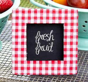 Red Gingham Photo Frame Place Card Holder