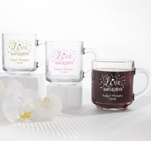 PERSONALIZED Wedding Glass Coffee Mugs (Printed Glass) (Gold, Sparkling Pink Wedding)