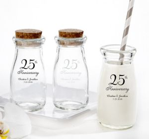 PERSONALIZED Wedding Glass Milk Bottles with Corks (Printed Glass) (Silver, 25th Anniversary)