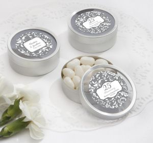 PERSONALIZED Wedding Round Candy Tins - Silver (Printed Label) (25th Anniversary)