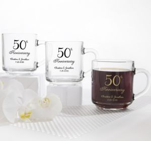PERSONALIZED Wedding Glass Coffee Mugs (Printed Glass) (Gold, 50th Anniversary)