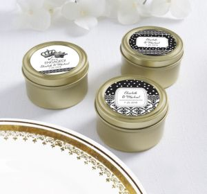 PERSONALIZED Wedding Round Candy Tins - Gold (Printed Label) (Damask & Dots)