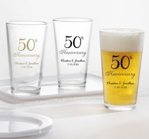 PERSONALIZED Wedding Pint Glasses (Printed Glass) (Gold, 50th Anniversary)