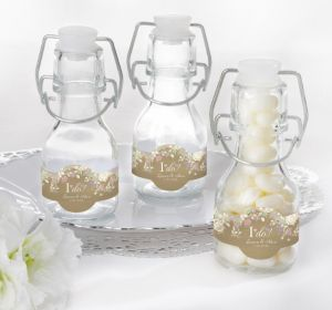 PERSONALIZED Wedding Glass Swing Top Bottles (Printed Label) (I Do)