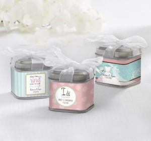 PERSONALIZED Wedding Favor Tins with Bows (Printed Label) (I Do)