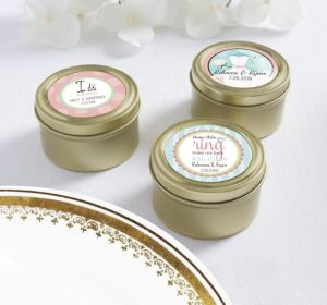 PERSONALIZED Wedding Round Candy Tins - Gold (Printed Label) (I Do)