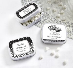 PERSONALIZED Wedding Mint Tins with Candy (Printed Label) (We're Engaged Crowns)