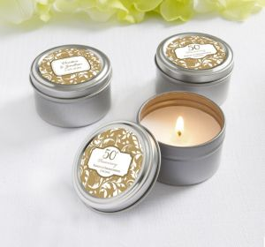 PERSONALIZED Wedding Candle Tins (Printed Label) (Gold Elegant Scroll)