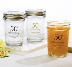 PERSONALIZED Wedding Mason Jars with Solid Lids (Printed Glass) (Gold, 50th Anniversary)