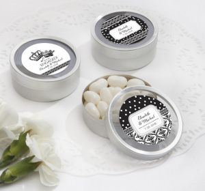 PERSONALIZED Wedding Round Candy Tins - Silver (Printed Label) (We're Engaged Crowns)